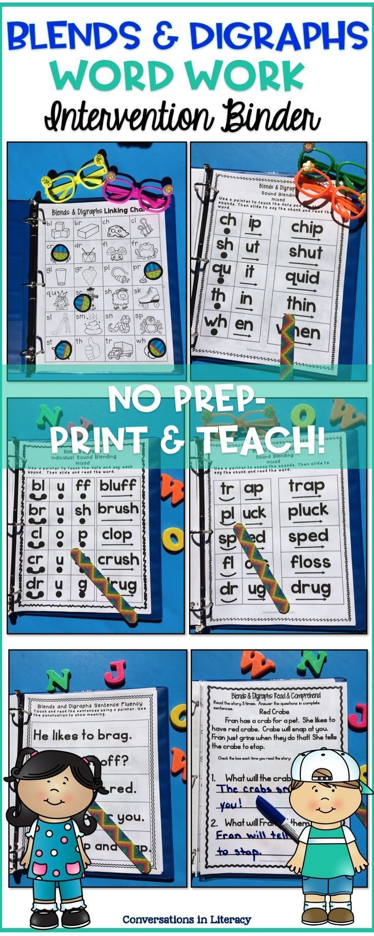 Blends and Digraphs activities for reading interventions, guided reading groups or literacy centers!