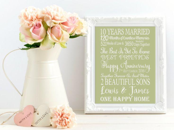 10 Year Wedding Anniversary Gift. Personalised Anniversary Gift. Personalised Anniversary Print. 10 Year Anniversary Print. 10 Year Gift. by EllysVintage on Etsy