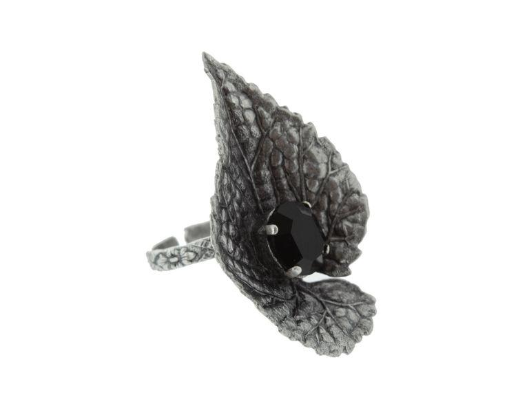 "Кольцо ""Лист"" с кристаллом Swarovski - латунь - винтажное серебро | Westwing Интерьер & Дизайн"