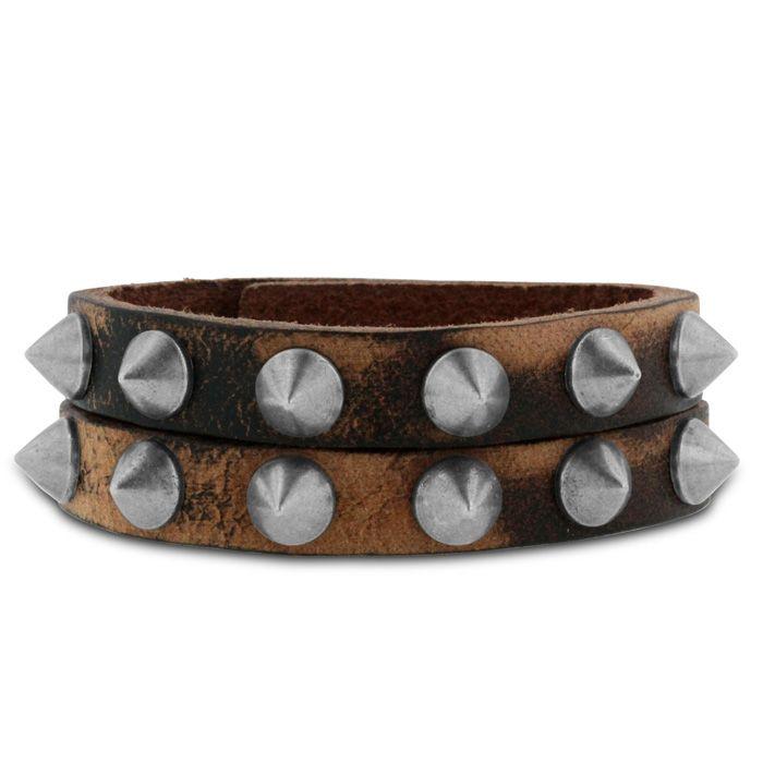 Men's Rockstar Studded Split Strand Leather Bracelet: Masculine and raw, this men's rockstar studded… #DiamondJewelry #DiamondRings
