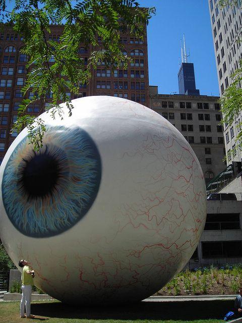 Eye Sculpture (Tony Tasset) - Chicago, Pritzker Park, at State and Van Buren Streets
