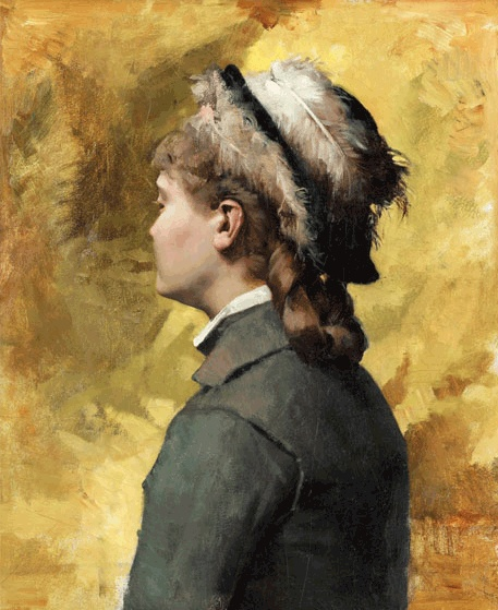 Albert Edelfelt painting - Young woman in grey