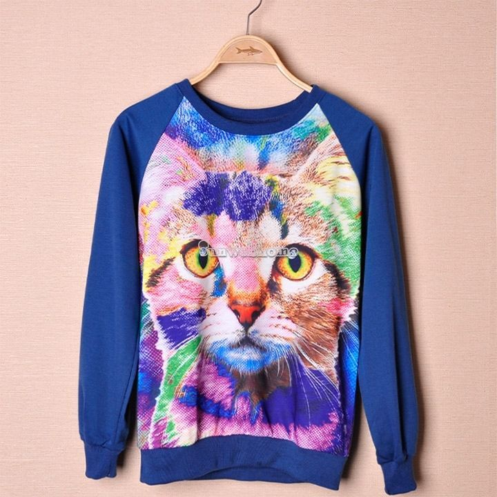 Chic Womens Fashion Tiger Owl Print Round Neck Long Sleeve Sweater Tops Pullover