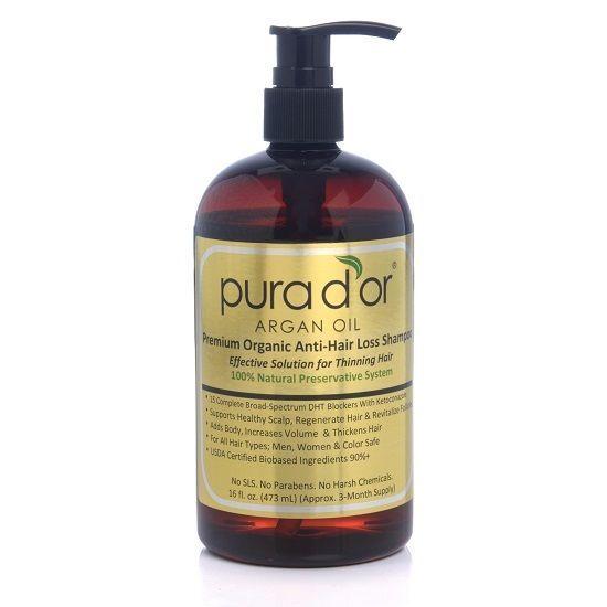 Pura d'or dor Premium Organic Argan Oil Anti Hair Loss Shampoo, 16 Oz Gold Label #Purador