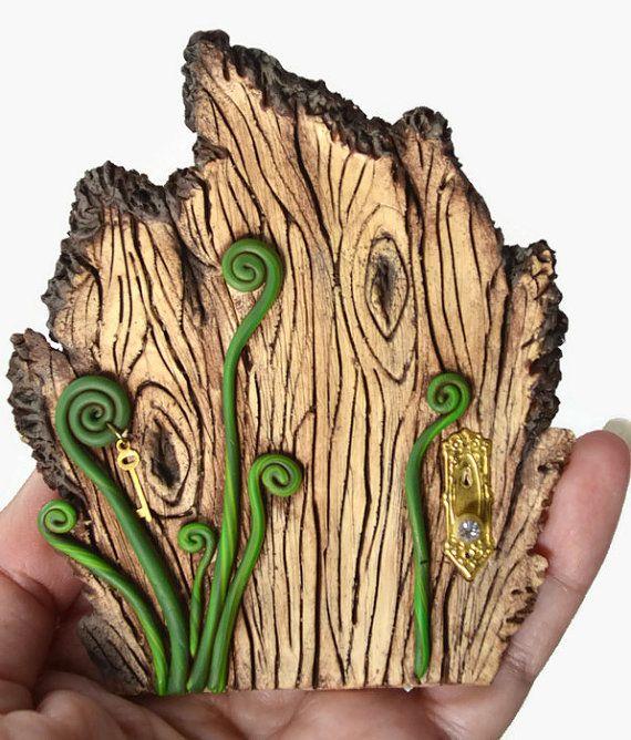 Wood Fairy Door Fern Fairy Door Wood Grain Faerie by PolymerPamE