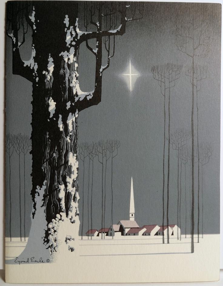 50s Eyvind Earl Tree Star Village Snow: