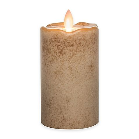 Mirage flickering flame led pillar candle in beige at bed bath and beyond