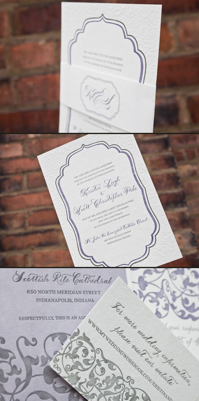 love quotes for invitations%0A We love this three color Dawson invitation  Blind deboss paired with silver    lavender letterpress