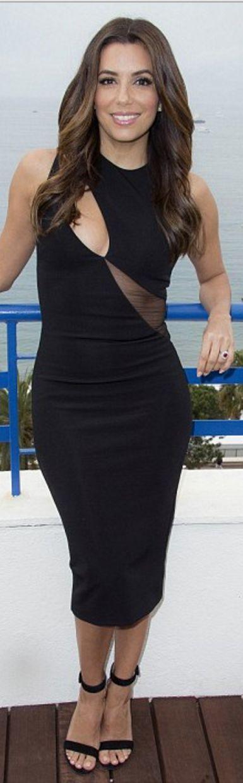 Eva Longoria's black sandals and mesh cut out dress
