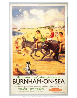 Burnham-on-sea donkies For Leisure and Pleasure Vintage Travel England Somerset