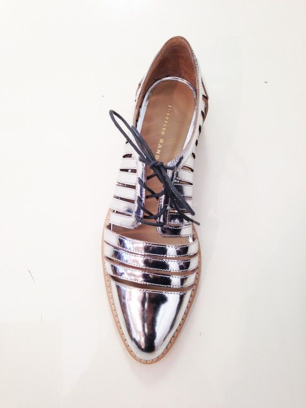 Loeffler Randall-Lavender metallic Oxford w/ slits all around