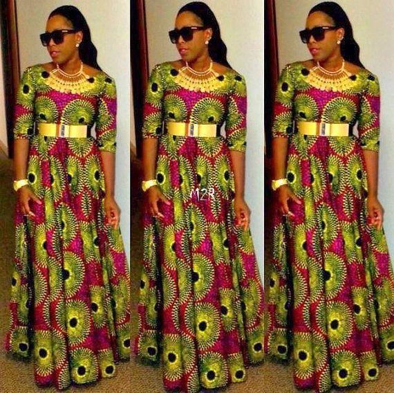 African Print Maxi Dress Ankara ~African fashion, Ankara, kitenge, African women dresses, African prints, Braids, Nigerian wedding, Ghanaian fashion, African wedding ~DKK