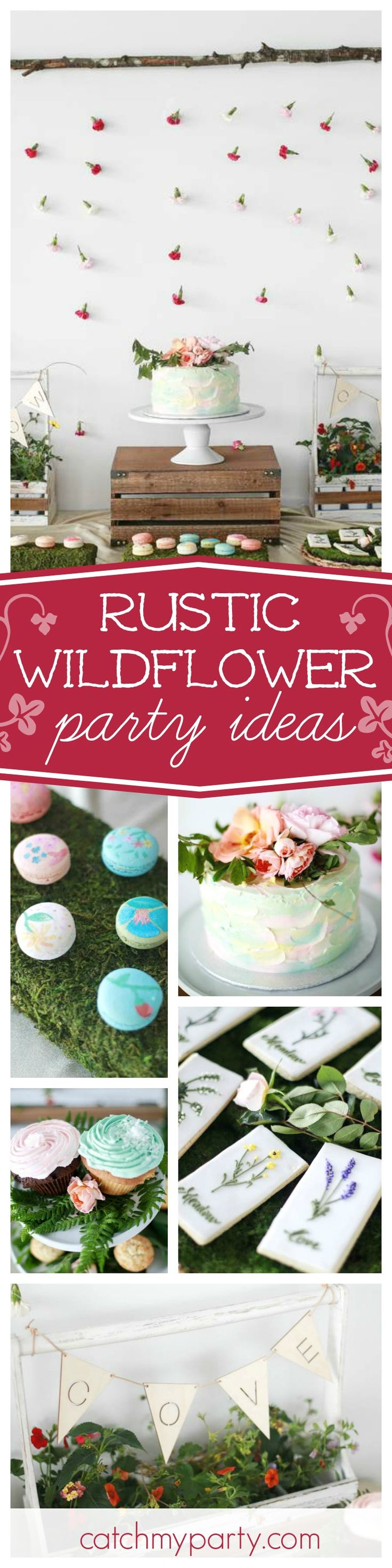 You'll fall in love with this wonderful Wildflower party for twins. The scattered flower back drop is gorgeous!! See more party ideas and share yours at CatchMyParty.com