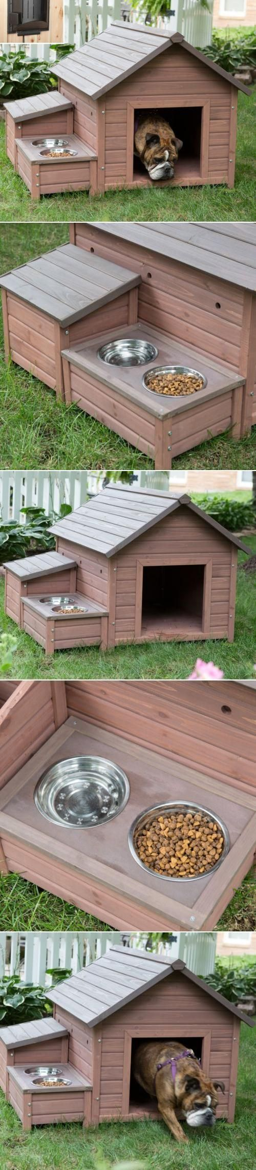 The ultimate multi-tasking dog house features a small cubby for storing supplies, a built-in food tray with metal bowls, and plenty of weatherproof details. When temperatures drop, the built-in heater automatically turns on to keep pets warm. Its energy-e