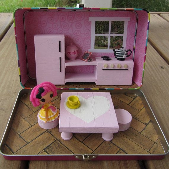 Mini Lalaloopsy carry along dollhouse pink by UnderTheRoseArbor, $40.00