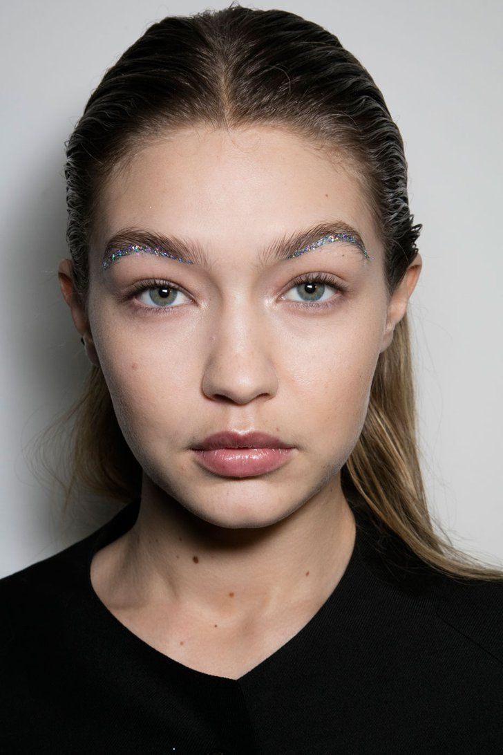 Pin for Later: Gigi Hadid Wearing Glitter Eyebrows Is the Best Thing You'll See Today Gigi Hadid Backstage at Giambattista Valli Paris Fashion Week Fall 2016