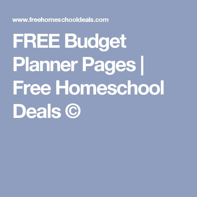 FREE Budget Planner Pages | Free Homeschool Deals ©