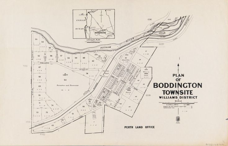 BODDINGTON Cadastral map showing land use. Includes locality plan, scale ca. 1:15 840 (1 in.= 20 chains) Shows original lots and locations and subdivisional lots. Part of collection: Townsite maps, Western Australia. https://encore.slwa.wa.gov.au/iii/encore/record/C__Rb1859981