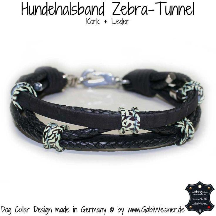 Hundehalsband Leder und Kork mit Zebra-Tunnel