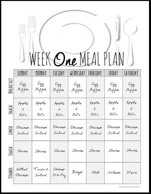 Weekly Meal Plan 1 ~ To Insanity & Back                                                                                                                                                                                 More