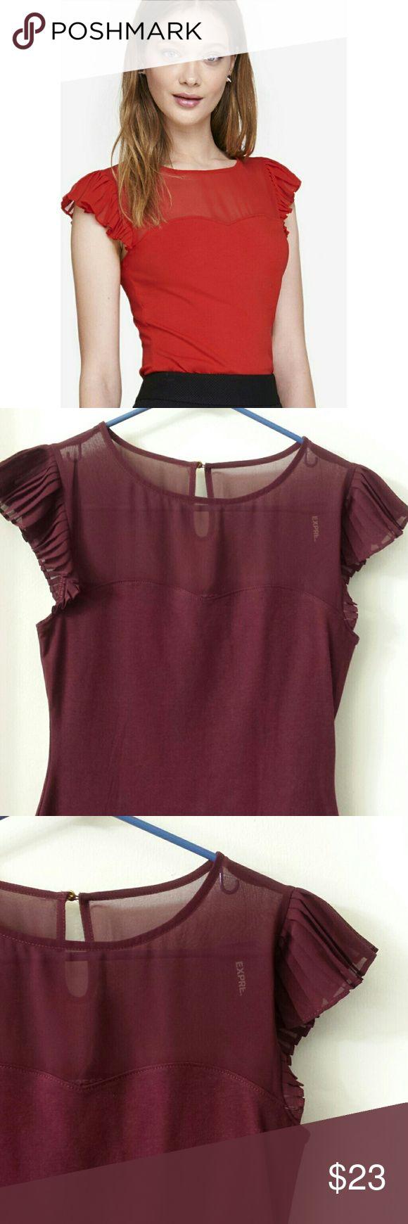 Purple Express flutter sleeve top Express pleated flutter sleeve top in plum. NWT. Express Tops Tees - Short Sleeve