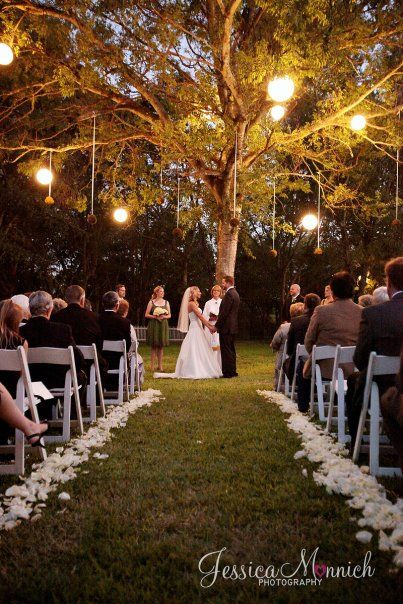 An Outdoor Sunset Ceremony In A Forest Or Woodsy Clearing With Some Soft Lighting Sigh Wedding Bride Bridal Someday I Thee Wed