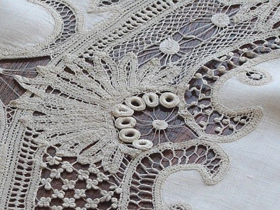 Antique Tape Lace Tablecloth