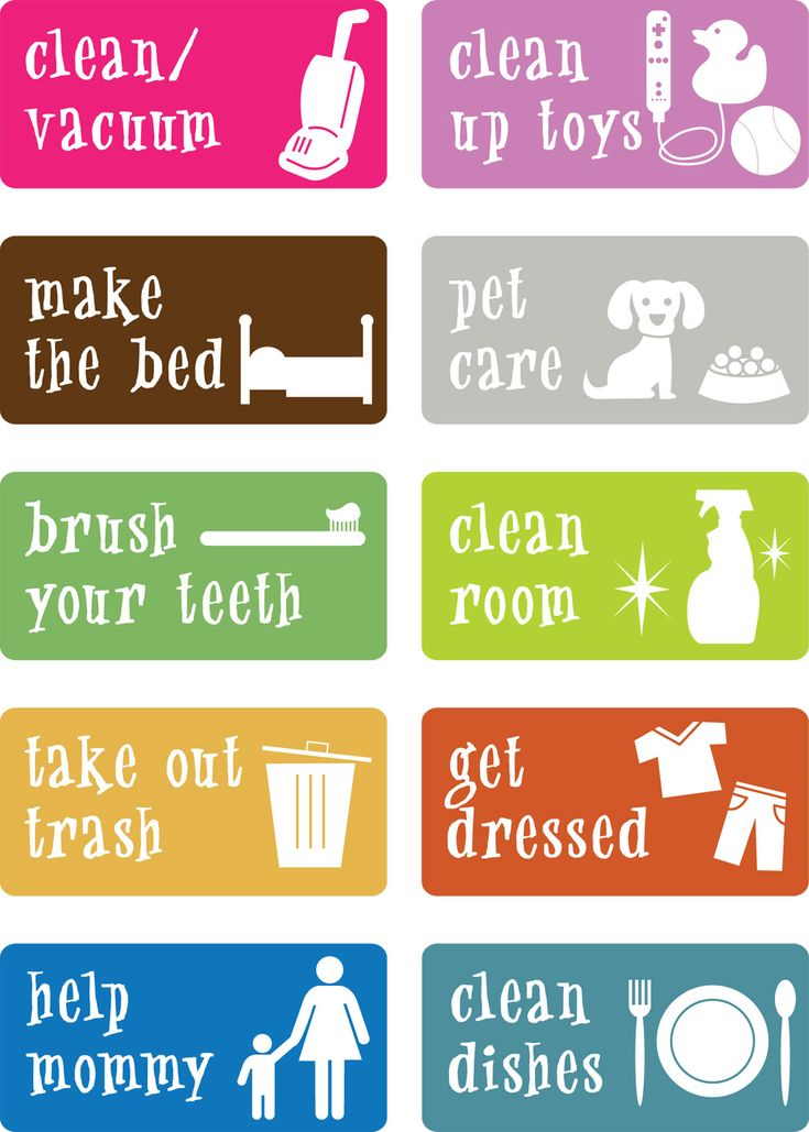 Chore cards for the littles can be printed for a picture schedule, chore drawing from a bowl, or star chart.