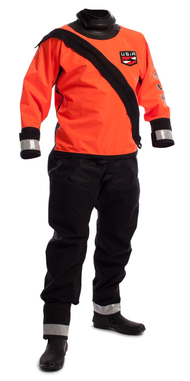 The USIA Pro Rafter~The preferred suit for numerous Swift Water Rescue teams around the USA. The suit is built with a 200 Denier nylon that allows for extreme mobility when swimming and excellent comfort when out of the water. The suit comes standard with 1000 denier Cordura thigh, seat, and wrist protectors. It is available in a rear or front entry design. Reflective tape and RESCUE screening is also available.