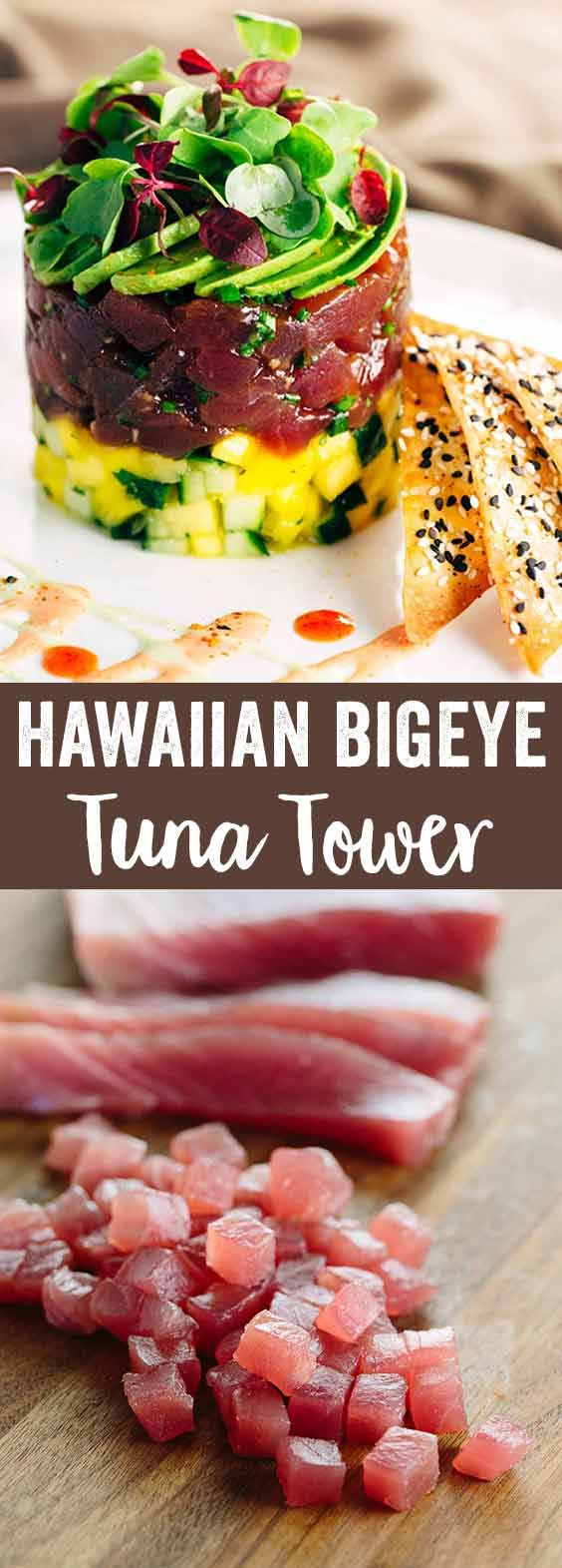 Hawaiian Bigeye Tuna Tower with Sesame Wonton Crisps - Simple yet elegant recipe combines bold flavors of the delectable ahi tuna with the crunchy baked spiced crackers. via @foodiegavin