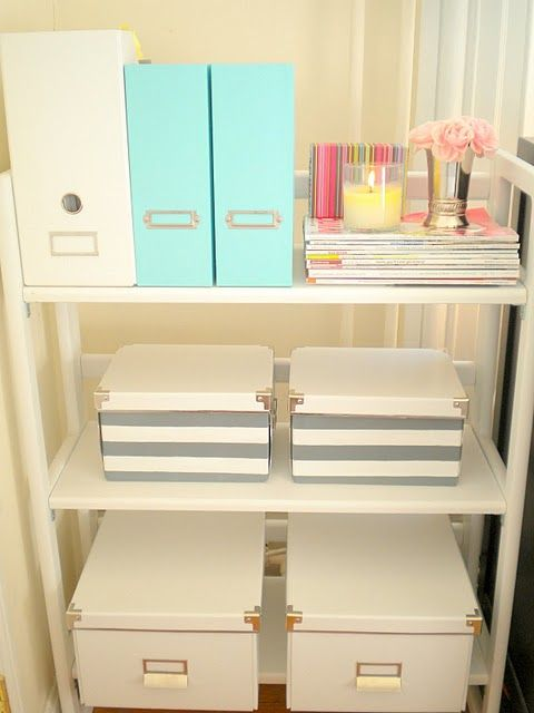 Bedroom organization...I think I might use this idea, combined with the shoe-box-covered-in-scrapbook-paper idea for the bedroom....if we need it....so i could stack them or put on a shelf like this and it would still look decorative