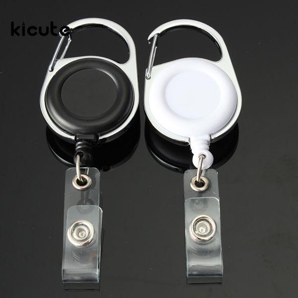 Blanco Negro Retractable Lanyard Llavero ID Badge Nombre Titular de la Tarjeta etiqueta de Retroceso Carrete Clip de Cinturón de Metal Carcasa De Plástico cubre