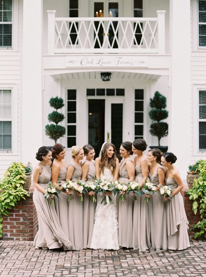 Elegant neutral-hued bridesmaid gowns: http://www.stylemepretty.com/georgia-weddings/atlanta/2016/02/22/classic-southern-plantation-wedding-in-georgia/ | Photography: Simply Sarah - http://simplysarah.me/