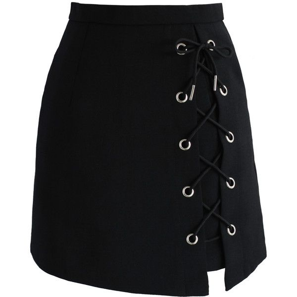 Chicwish Stylish Tie Bud Skirt in Black (140 BRL) ❤ liked on Polyvore featuring skirts, mini skirts, chicwish, black, short mini skirts, tie-dye skirt, lacy skirt, embellished skirt and lace skirt