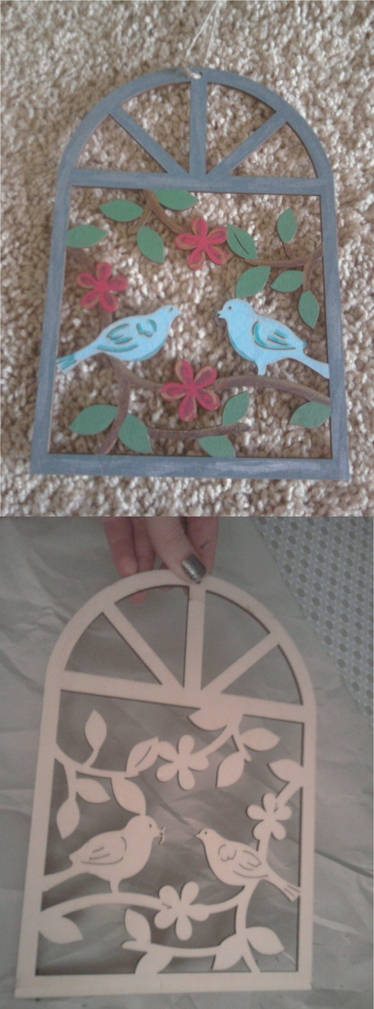 So Michaels has all these punched out pieces of wood that you can paint however you like... I felt like I was doing a grown up coloring page. Very easy!!