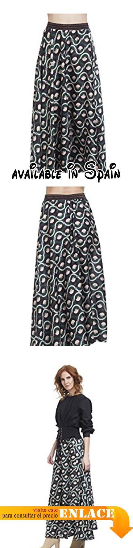 B076H8FKCN : TANTRA - Falda ROMINA - Mujer - UNICO - Verde. Falda larga estampada. Con elástico en la cintura. Efecto asimétrico. Acabado con solapa. Longitud 120cm