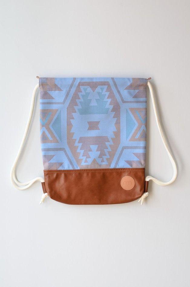 Turnbeutel - Turnbeutel Kosmos Inka-Muster Blau - ein Designerstück von remembermebags bei DaWanda
