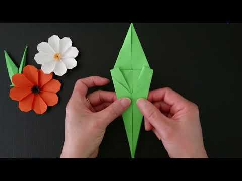 How to make Origami Leaf and Stem for flowers (Henry Phạm) - YouTube   360x480