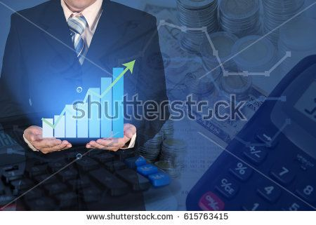 Double exposure of business growth diagram or financial graph chart with arrow on businessman hand, with coins currency and calculator background, business concept.