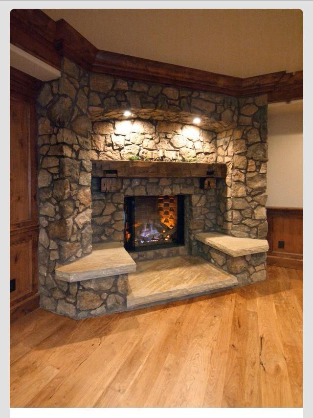 Awesome fire place with seating