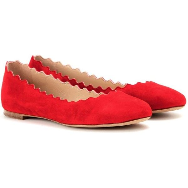 Chloé Lauren Suede Ballerinas ($445) ❤ liked on Polyvore featuring shoes, flats, red, red ballerina flats, ballet flats, ballerina flats, suede ballet flats and red shoes