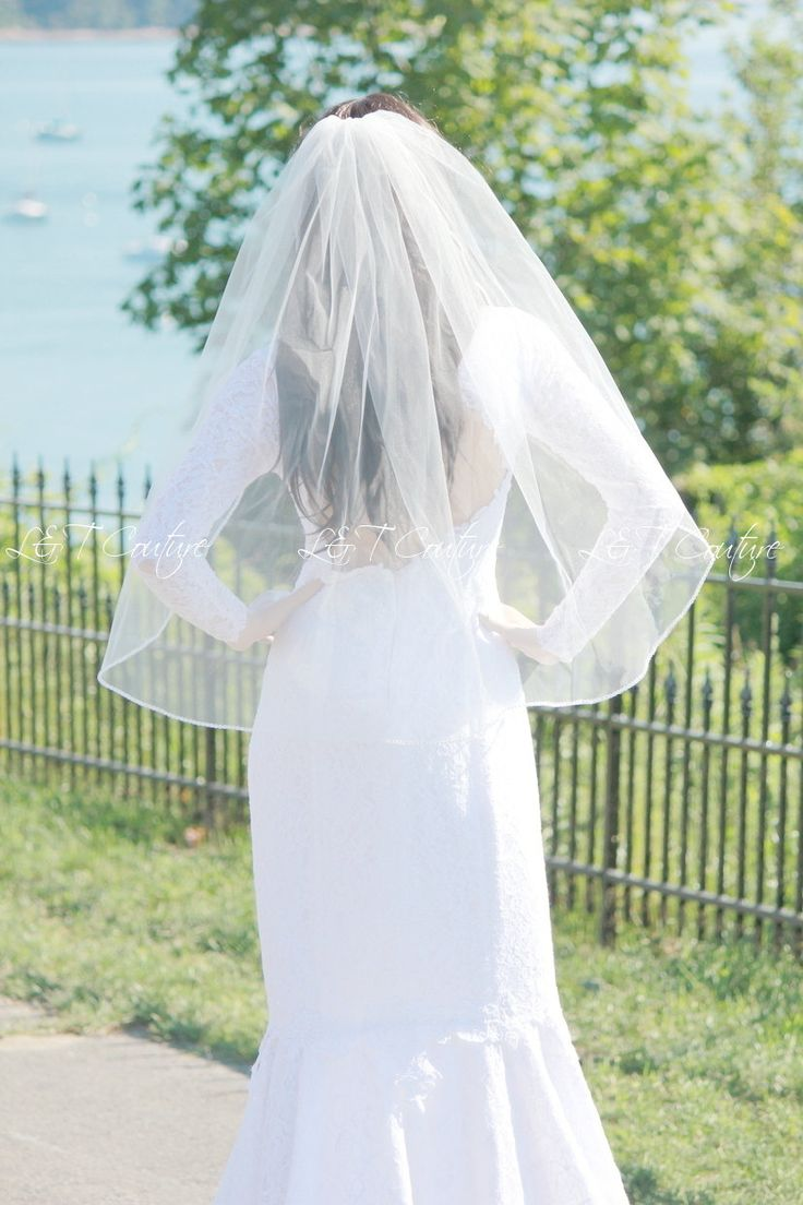 Crystal Edging Wedding Veil, Rhinestones Edging Bridal Veil, Wedding Veil with Comb, Wedding Accessory, READY TO SHIP by LTCoutureAtelier on Etsy