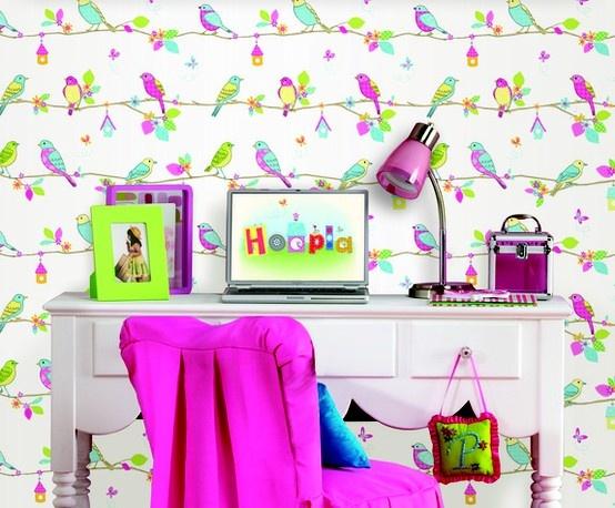 Papel de parede com passarinhos http://papeldeparedeonline.com/2013/03/18/papel-de-parede-infantil-hoopla/