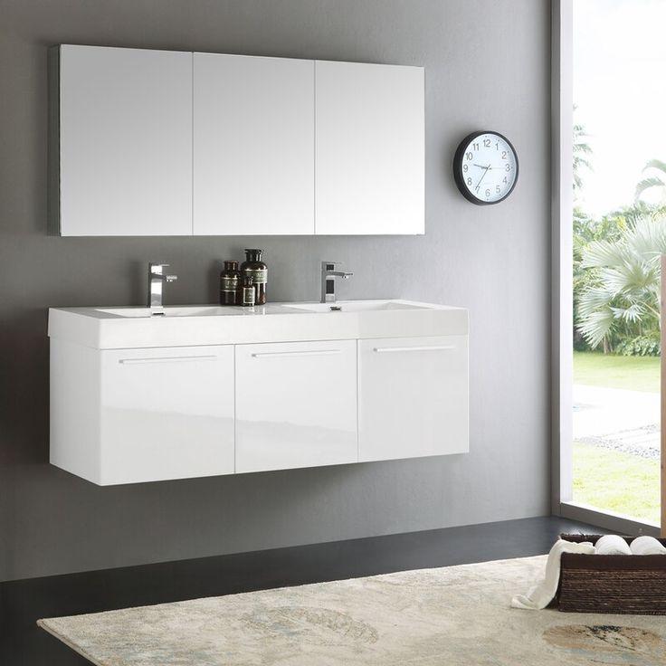 "vista 60"" wall hung modern bathroom vanity w/ medicine"