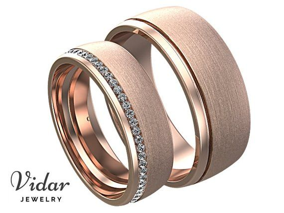 His and Hers Diamond Wedding Band Set, Unique Matching Wedding Rings, Unique Rose Gold Ring Pair, Matching Wedding Band Set, Rose Gold Ring