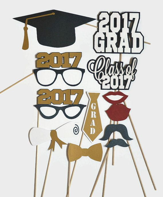 Graduation Photo Booth Props - Set of 12 - Photobooth Props - Class of 2017 - 2017 Graduation - Graduation Party - Graduation Centerpieces  ***This item is MADE TO ORDER and ships in 3-5 business days from purchase***  These graduation photo booth props are perfect addition to the photo booth at your party. You could also use them as table centerpieces and your guests can have fun taking pictures and selfies at their tables. They are laser cut from heavy duty metallic card stock and attached…