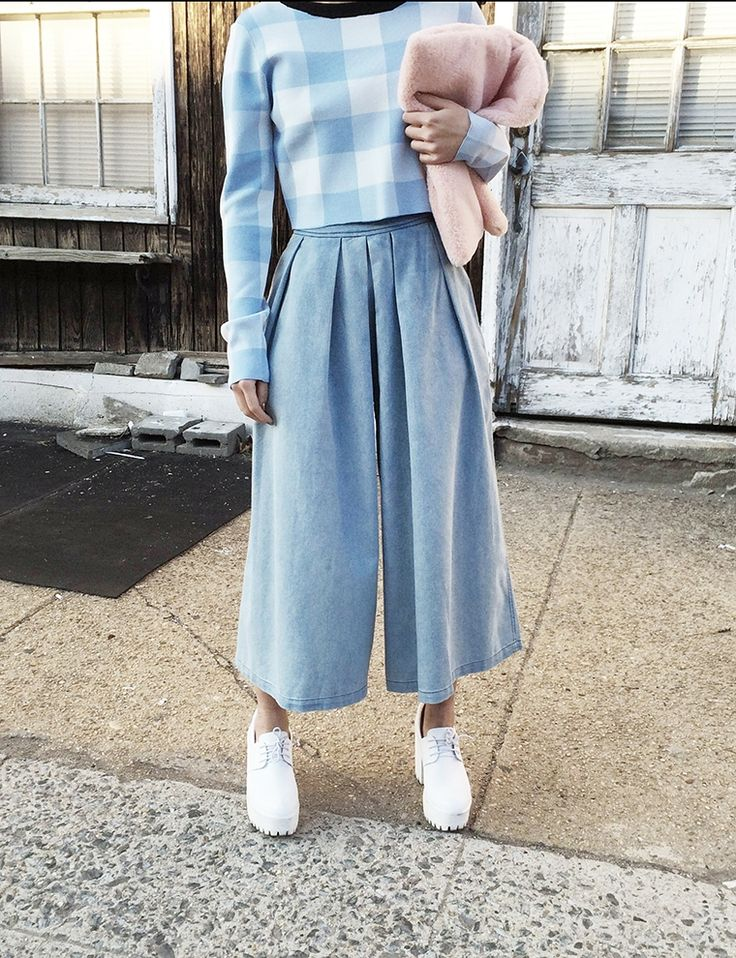 Denim Culottes - Crop Wide Pants - Cropped Pants
