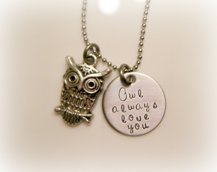 @Krissy Breden: Owl Lovers, Hands Stamps, Hand Stamped, Necklaces Owl, Lovers Necklaces, Owl Necklaces, Always Love You, Stamps Owl, Owls