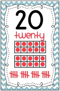 Chevron Numbers 0-20 Classroom Display with Ten Frames AND Tally Marks $4.50 at my TPT store!!