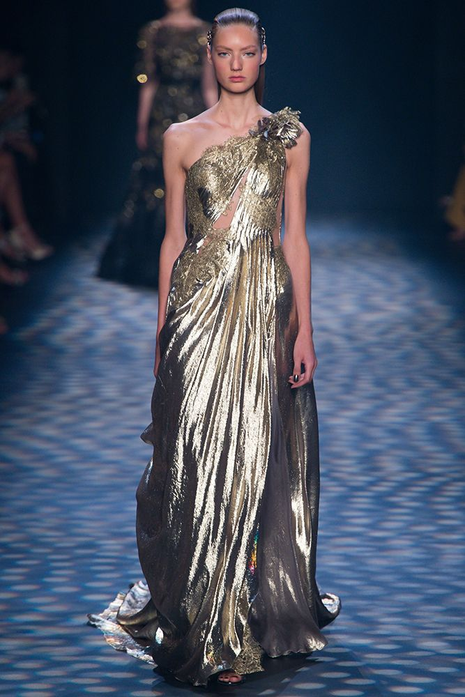 Marchesa One Shoulder Grecian Gown - Vivaldi Boutique